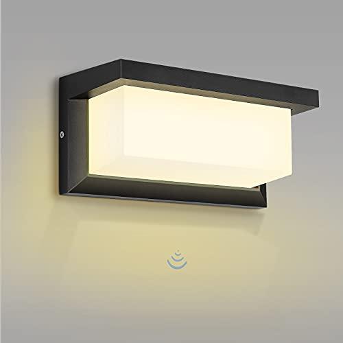 Aplique LED Exterior, MICUTU 30W Moderna Luz Sensor Movimiento Exterior, IP65 Impermeable Lampara Exterior Pared, de Para Patio Balcón Pasillo Jardin Exterior Pared Iluminacion (Blanco cálido)