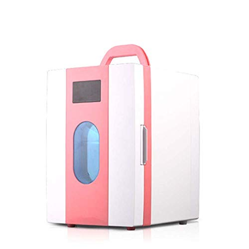 NCBH Car Refrigeration Mini Fridge,10l Beverage Cooler For Home,Food,Drinks, Wine,Office And Car Mini Compact Refrigerator-Pink 23.5x27x33.5cm