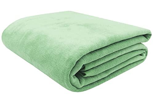 Zollner Manta para Cama 90, Verde Claro, 60% algodón, Medidas
