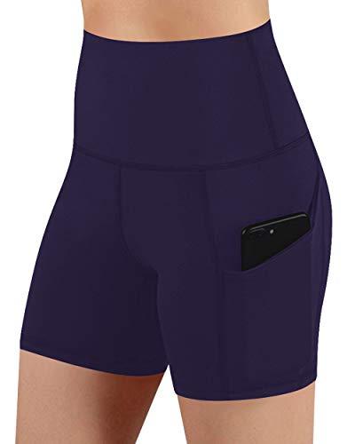 Voqeen Pantalones Cortos Sin Cordones para Mujer Cintura Alta Control De Barriga Entrenamiento Yoga Pantalones Cortos para Correr Cómodos Leggings Bolsillos Laterales