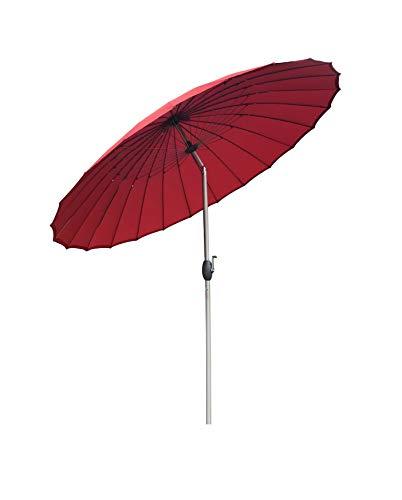 SORARA Shanghai Parasol de Jardin Exterieur | Rouge | ø 260 cm | Rond | Mécanisme à Manivelle, Fonction d'inclinaison (Pied excl.)