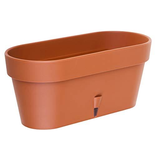 Vaso per piante autoirrigante con indicatore del livello dell'acqua, per interni ed esterni, Latina Window Box, A 6,7L / 39,5 cm (Terracotta)