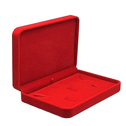 RWEAONT Caja de Joyas de Terciopelo Grande Caja Grande Collar y Anillo Pendiente Colgante Cajas de Regalo Caja de Almacenamiento Caja de Almacenamiento Boda Holder (Color : Red)