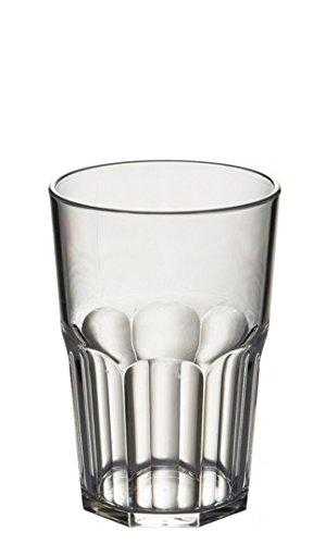 Avenue Juego de 6 vasos octogonales de plástico de policarbonato irrompibles y reutilizables, 428 ml, altura 12 cm, diámetro máximo 8,5 cm