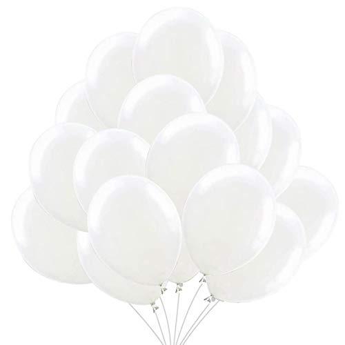 50 Ballons Blanc. Ballons de Baudruche Blancs Ballons d'Anniversaire Gonflables 36cm / 3.2 g Décorations de Fête et Accessoires pour Anniversaire ou Mariage