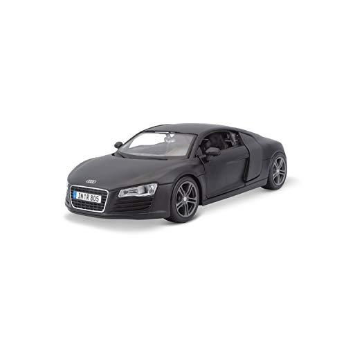 Maisto Audi R8: Originalgetreues Modellauto mit Türen und Kofferraum zum Öffnen,Maßstab 1:24, Fertigmodell, 20 cm, schwarz (531281M)