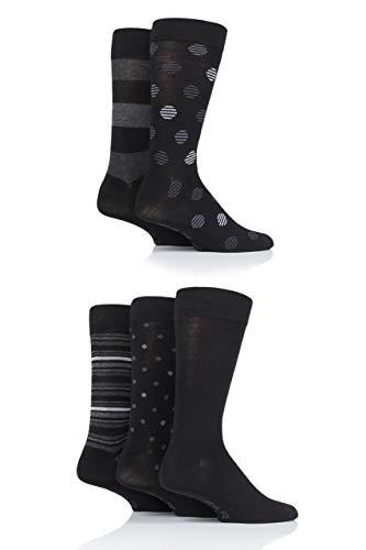 FARAH® Herren Klassisch Gemustert Bambus Socken Packung mit 5 Schwarz/Holzkohle 39-45
