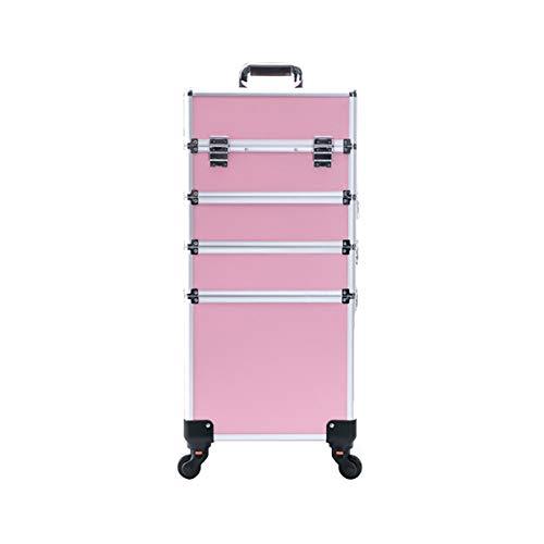 Beauté Trolley Case, Maquillage Chariot Case 4 en 1 Grand Aluminium Beauté Chariot Vanity Case Make Up boîte cosmétique Sac Coiffure Nail Art Salon - Rose,4 Layer