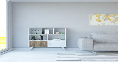 Homemania Libreria Ducky, Legno, Bianco-Noce, 90x22x105 cm