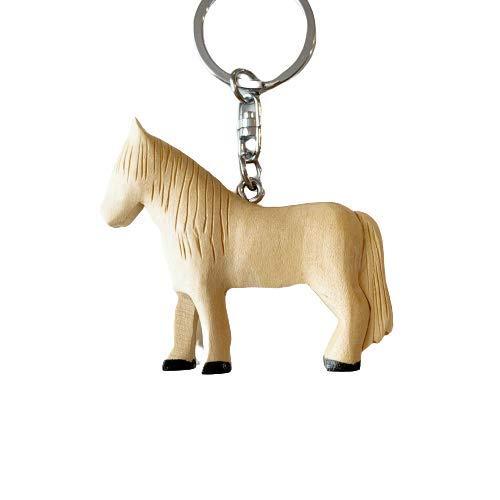 JA Horse - Holz Schlüsselanhänger Pferd Pferdchen Pony Reiten Tier handgemacht (3D weißes Pferd)