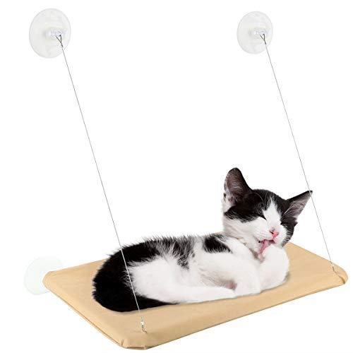 Rehomy Cojín transpirable para colgar en la ventana, para gatos y cachorros, con ventosas fuertes, asiento para mascotas, hamaca alta, color beige