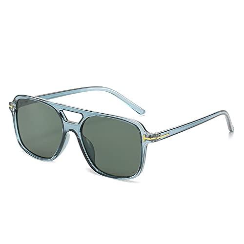 ShZyywrl Gafas De Sol De Moda Unisex Gafas De Sol En Forma De T Moda Hombre Mujer Gafas Cuadradas De Doble Haz Refrescante Color del Océano Gafas De Sol Gafas