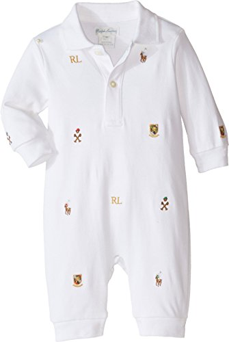 Polo Ralph Lauren Kids Baby Boy's Interlock Novelty Schiffli Coveralls (Infant) White 3 mos