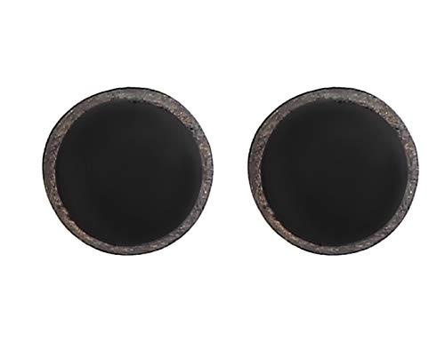 Kuzzoi Pendientes de hombre redondos (8 mm) cepillados, oxidados, con esmalte negro, de plata de ley 925