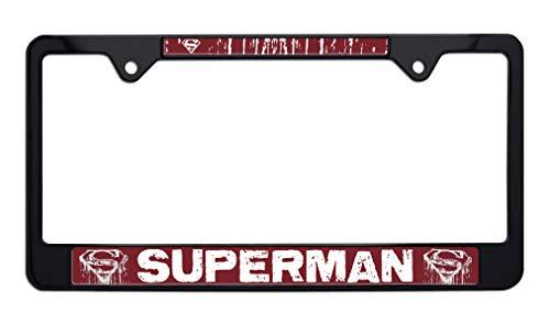 Superman Distressed Black Metal License Plate Frame