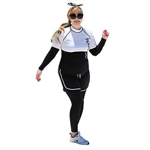 Tauchanzug Neoprenanzug Damen Split Typ 4 Stück Set Dünger hinzufügen Large Size Langarm elastischer Reißverschluss Sonnenschutz Schwimmen Segelboot Badeanzug Kanu weiblich MUMUJIN ( Size : 4XL )
