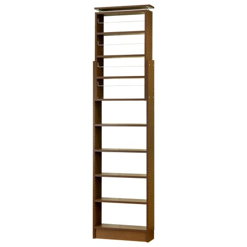 クロシオ 耐震 天井つっぱり書棚 ブラウン 幅600x奥行190 高さ190~2600mm 薄型本棚
