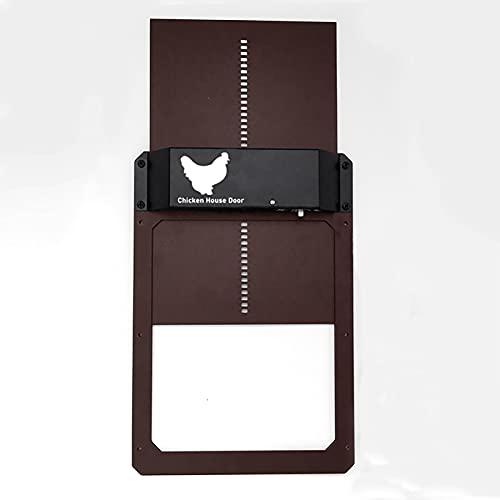DIKAM Puerta automática de gallinero - Puertas de aluminio completas con detección de luz, temporizador de apertura retardada por la noche y por la mañana, puerta automática de gallinero resistente al