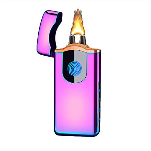 SXTYMV Mechero eléctrico USB recargable doble arco Plasma encendedor electrónico a prueba de viento encendedor de cigarrillos para fumar cigarrillos velas de fuego (negro)