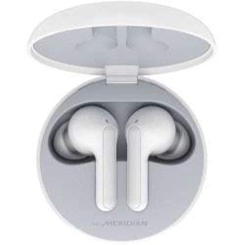 LG TONE Free HBS-FN4W - Auriculares True Wireless con Sonido Meridian, Bluetooth 5.0, Estuche de Carga inalámbrico, Carga rápida, comandos de Voz Google, protección IPX4 y Doble micrófono - Blanco