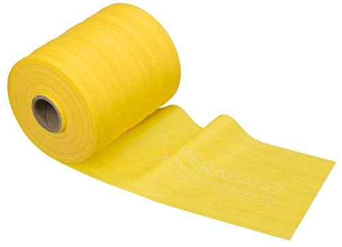 TheraBand Resistance Band 50 Yard Roll, Thin Yellow Non-Latex Professional Elastic Bands For Upper & Lower Body Exercise, Physical Therapy, Pilates, & Rehab, Dispenser Box, Beginner Level 2
