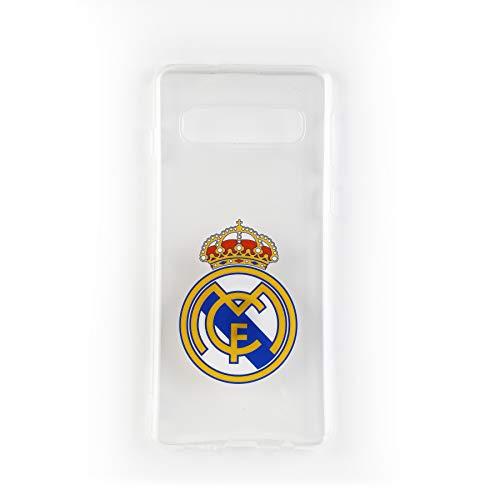 Wondee Global Services Carcasa Transparente con Escudo de Color del Real Madrid Club de Futbol Oficial para Samsung S10