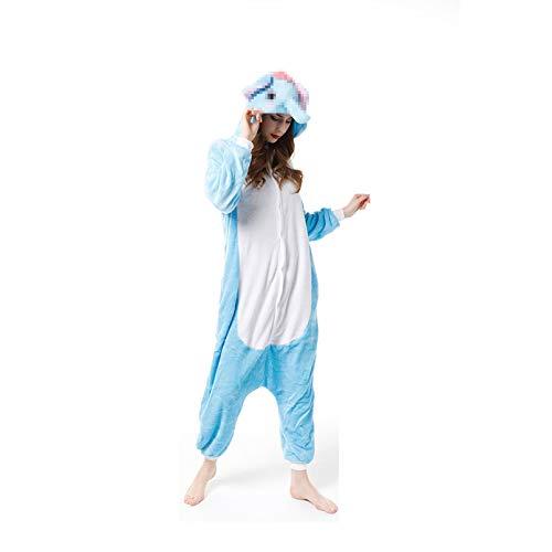 LINLIN Niño pequeño Animal de la Historieta Ropa de Noche de una Pieza del Mono de los niños Franela Pijama con Capucha Unisex de Manga Larga Pijama de Vestir Sleepsuit,Blue- Adult 181~190cm
