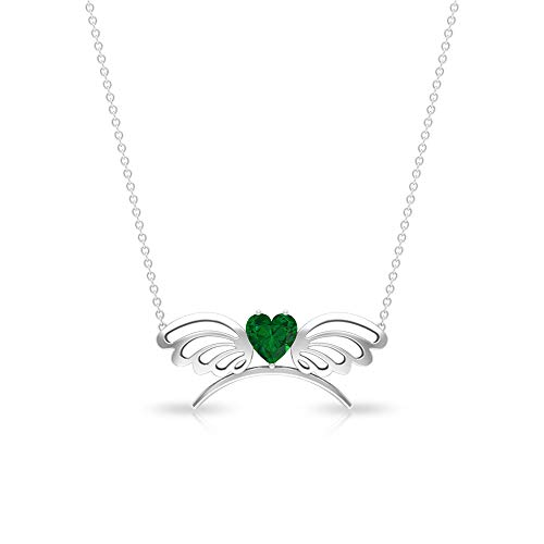 Rosec Jewels 14 quilates oro rosa corazón Green Esmeralda creada en laboratorio.