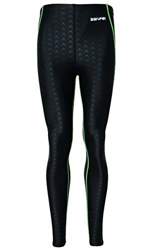 Men's Stretchy Elastic Long Diving Skin Pants Beach Board Leggings Swimming Wetsuit Tights - XXL - Black (Green Stripe)
