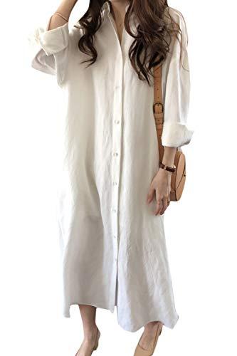 Vestido Camisero de Lino y algodón para Mujer Vestidos Largos Sueltos Casuales de Manga Larga Blanco XXL