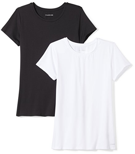 Amazon Essentials 2-Pack Tech Stretch Short-Sleeve Crew T-Shirt Athletic-Shirts,  Negro/Blanco, X-Large