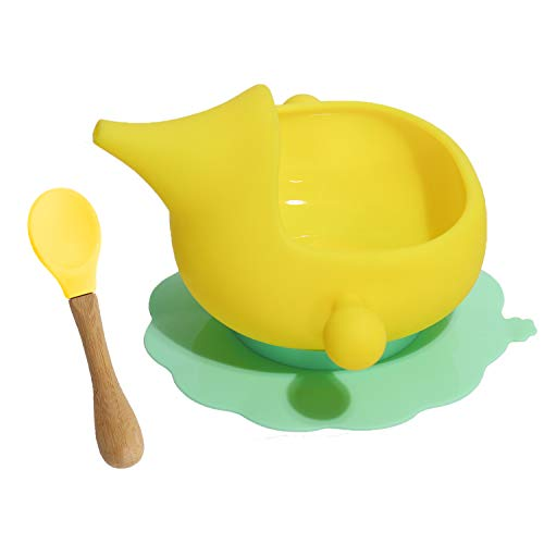 Infant Self Silicone Baby Suction Bowl with Spoon Baby First Feeding Set for Toddler Led Weaning (Yellow)