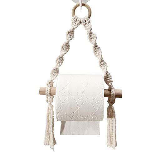 QOTSTEOS - Porta rotolo di carta sospeso in corda intrecciata, porta carta igienica da cucina, porta asciugamani di carta in pizzo, per bagno, bagno, camera (tipo A)