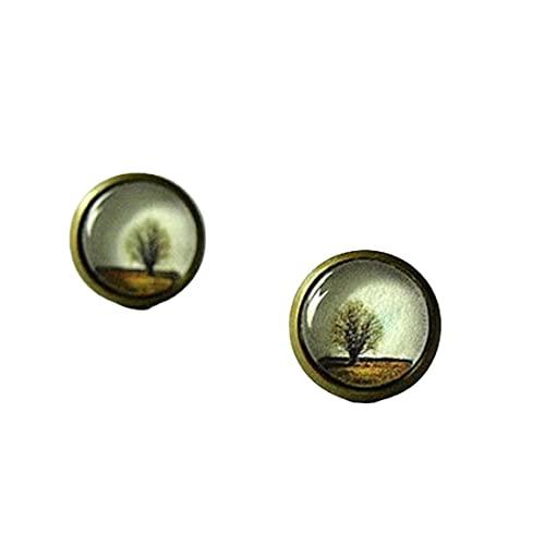 Pequeños pendientes de árbol de invierno pequeños pendientes de oreja - marrón beige - regalo de Navidad para ella - pendientes de árbol de cristal cúpula de la madre Día de la Madre Joyería simple
