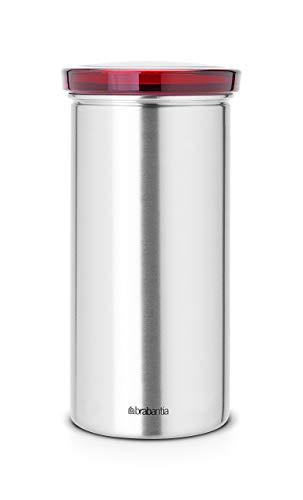 Brabantia Vorratsdose aus Edelstahl für Kaffeepads Senseo, Schutz vor Fingerabdrücken Deckel in rot