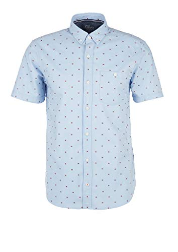 s.Oliver RED Label Herren Regular: Hemd mit Dobby-Struktur Fog Blue Dobby XXL