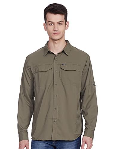 Columbia Men's Silver Ridge Lite Long Sleeve Shirt, UV Sun Protection, Moisture Wicking Fabric, Stone Green, Large