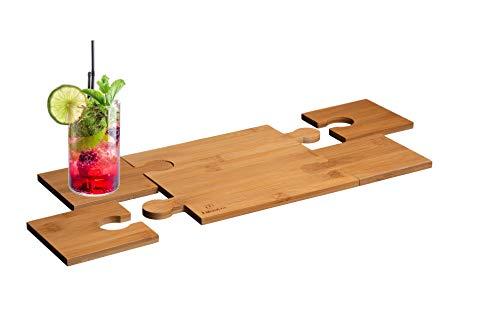 LucroTo Topfuntersetzer Hitzebeständig aus Bambus-Holz - Glasuntersetzer im 5er Set - Getränke-Untersetzer modern Puzzle Design (Form Rechteck)