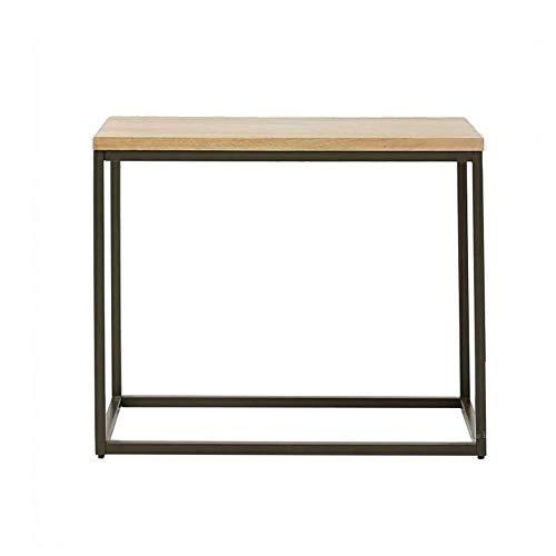 BaiHogi Mesa de cama, Tabellen Eingang Flur Tisch, Sofa-Table/Kaffee-Endtisch, industrielles Vintage-Holz-Look, schwarzer Metallrahmen, 1-Regal, 2 Farben Couchtisch