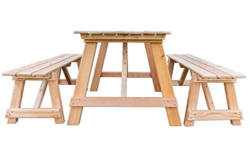Mega Holz Gartengarnitur Balaton 130 cm 3-teilig, 2X Bank und 1x Tisch - Kiefer