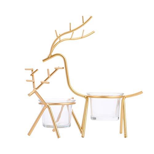 Healifty 2pcs Golden Christmas Reindeer Tealight Candle Holder Standing Iron Metal Xmas Table Centerpiece Rustic Holiday Table Candle Holder Home Ornament