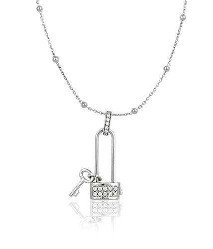 Collar Keylove Open My Heart tamaño grande plata rodiada 925 y circonita (CZ) 9900