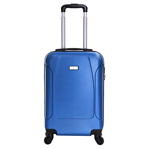 Slimbridge Hard Cabin Hand Luggage Carry-on Suitcase Bag 55 cm 2.5 kg 35 litres 4 Wheels Number Lock, Alameda (Mid Blue)
