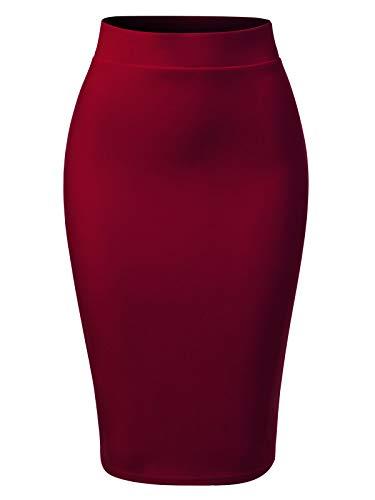 MixMatchy Women's Casual Classic Bodycon Pencil Skirt Burgundy L