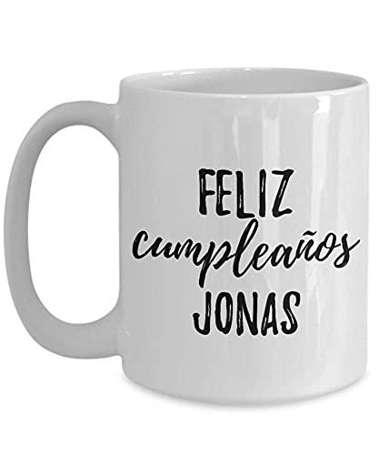 Feliz Cumpleanos Jonas kubek hiszpański Happy Birthday spersonalizowane imię kubek do kawy herbaty duży H184OM