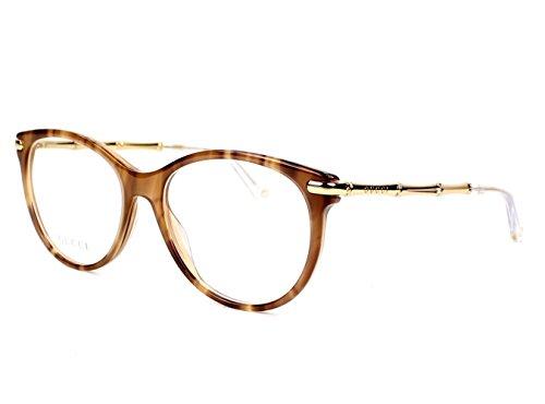 Gucci Frame BWNHORN GOLD WITH DEMO LENS LENS