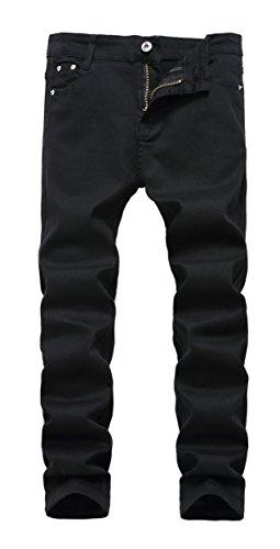 Boy's Black Skinny Fit Stretch Slim Straight Fashion Jeans Pants,12 Slim,Black,12 Slim