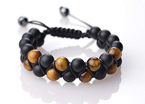Pulseras Premium Shamballa Doble de Piedras semipreciosas Naturales para Hombre Mujer Yoga Kundalini gemoterapia 7 Chakras Reiki y meditación (Ojo De Tigre Y Ónix Negro...
