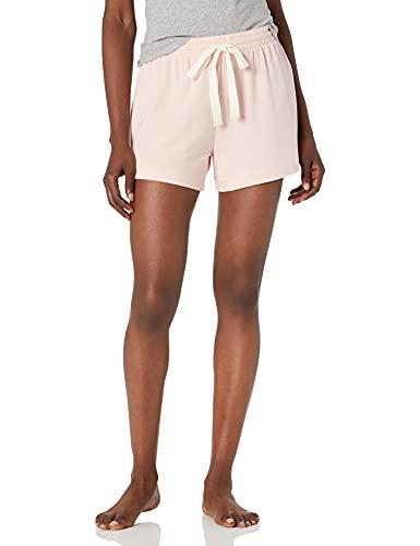 Amazon Essentials – Pantalones cortos ligeros de tejido de rizo para mujer, Rosado claro, US L (EU L - XL)