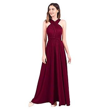 Women s Transformer/Wrap Solid Maxi Cocktail Dress Burgundy 12/XL